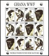 2006 Ghana, Diana Monkey, 1994, WWF, Overprint, Sheet Of 12 Stamps, MNH - W.W.F.