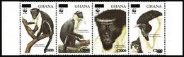 2006 Ghana, Diana Monkey, 1994, WWF, Overprint, 4 Stamps, MNH - W.W.F.
