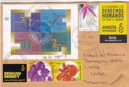 BLOQUE DE ONU, TIMBRES FLORES, VIÑETA AMNISTIA INTERNACIONAL. ARGENTINA SOBRE CIRCULADO 2007. ENVELOPPE CIRCULEE -LILHU - Vegetales