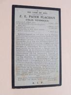 DP Z.E. Pater PLACIDUS ( Felix Vendrickx ) Alken 2 Jan 1836 - Leuven 6 April 1924 ( Zie Foto's ) ! - Décès