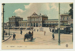 Reims - La Gare En  Couleur En 1916 - Reims