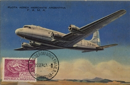 1947 , T.P. SIN CIRCULAR , DOUGLAS DC-4 EN VUELO , FLOTA AÉREA MERCANTE ARGENTINA - 1946-....: Ere Moderne