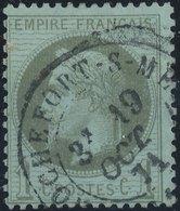 FRANCE - 1870, Mi 24, Yt 25 - 1 C, Oblitére - 1863-1870 Napoléon III Lauré