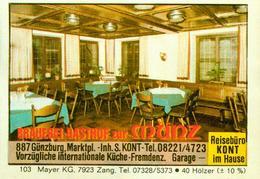 1 Altes Gasthausetikett, Brauerei-Gasthof Zur Münz, Inh. S.Kont,8870 Günzburg, Marktplatz #293 - Cajas De Cerillas - Etiquetas