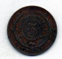 URUGUAY, 5 Centesimos, Copper, Year 1857, KM #8 - Uruguay