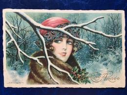 "Cpa---""jolie Femme-yeux Bleus-hiver ""-Aurelio Bertiglia (my Ref AB7) - Bertiglia, A."