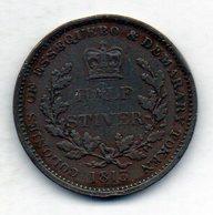 BRITISH GUIANA - ESSEQUIBO & DEMERARY, 1/2 Stiver, Copper, Year 1813, KM #9 - Guyana