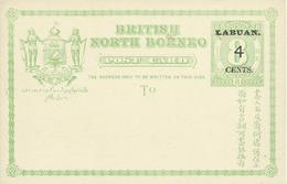 LABUAN Overprint On North-Bornea Post Card  4 Cents, New - Bornéo Du Nord (...-1963)