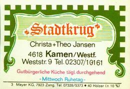 1 Altes Gasthausetikett, Stadtkrug, Christa+Theo Jansen, 4618 Kamen/Westf., Weststr.9 #295 - Cajas De Cerillas - Etiquetas