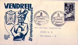 1965 , TARRAGONA - VENDRELL , XII EXPOSICIÓN FILATÉLICA , SOBRE CON MAT. ESPECIAL - 1931-Hoy: 2ª República - ... Juan Carlos I