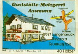 1 Altes Gasthausetikett, Gaststätte-Metzgerei Assmann, 8077 Langenbruck, Ringstr.3 #296 - Cajas De Cerillas - Etiquetas