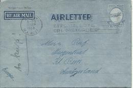 1953  Air Letter Sent From Albany To Bern, Switzerland - Postwaardestukken