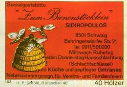 1 Altes Gasthausetikett, Speisegaststätte Zum Bienenstöcklein, Sidiropoulos, 8501 Schwaig, Behringersdorfer Str.21 #297 - Cajas De Cerillas - Etiquetas