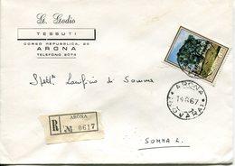 """Italia (1967) - 170 Lire """"Flora"""" Su Raccomandata Da Arona (NO) - 6. 1946-.. Repubblica"""