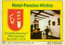 1 Altes Gasthausetikett, Hotel-Pension Winkle, 7320 Göppingen, Schopflenbergweg 5 #298 - Cajas De Cerillas - Etiquetas