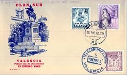 1963 , PLAN SUR DE VALENCIA , PRIMER DIA DE CIRCULACIÓN , MAT. TELECOMUNICACIONES / VALENCIA - 1931-Hoy: 2ª República - ... Juan Carlos I