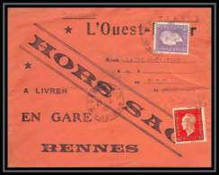 36602 Hors Sac Type Dulac 1945 Carentoir Morbihan Pour Gare De Rennes Bretagne Ouest France Lettre Cover - Marcophilie (Lettres)