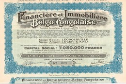 Titre Ancien - Financière Et Immobilière Belgo-Congolaise - Société Congolaise à Responsabilité Limitée -Titre De 1931 - - Afrika