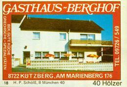 1 Altes Gasthausetikett, Gasthaus Berghof, 8722 Kützberg, Am Marienberg 176 #300 - Cajas De Cerillas - Etiquetas
