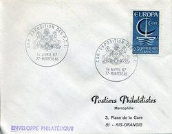 CAR EXPOSITION DES PTT 1967 CHEVAUX CABRES CHEVAL MONTEREAU - Marcophilie (Lettres)