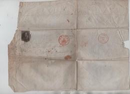 55PR/ TP1 S/LAC 3 Marges C.Anvers 23/8/1850 + Obl.à Barre 4 > St Amands C.d'arrivée Purs 24/8/1850 - Marcophilie
