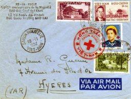 """VIET-NAM.1952. LETTRE P.J. CROIX-ROUGE. """"SA MAJESTE BAO-DAI"""". - Familles Royales"""