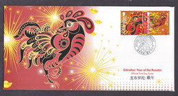 Gibraltar 2017 Year Of The Rooster FDC - Gibraltar