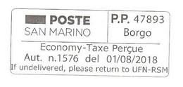 SAN MARINO - P.P. PORT PAYE' BORGO - Economy Taxe Percue (a Stampa) Su Lettera Dell'UFN - 4118 - Saint-Marin