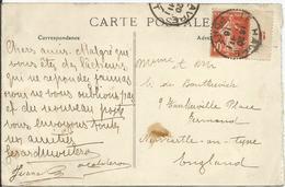 1907 - N° 138 Obl. (o) Avec Interpanneaux N ° 6 Sur Carte - Carte NICE-HAVRAIS RR - France