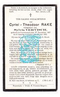 DP Cyriel Theodoor Rake ° Voormezele Ieper 1857 † 1932 X Sylvain Vervisch - Images Religieuses