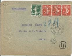 1907- N° 138 (x3) + 137 Obl.(o) Sur Lettre Recommandée PARIS-PARIS - France