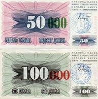 BOSNIA-HERTEGOVINA-50000,100000 DINARA 1993 P-55,56  XF+UNC - Bosnia Erzegovina