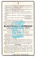 DP Achille Raymackers ° Meer Goetsenhoven Tienen 1872 † 1947 X Cordelie Denis / Mottie Briers Kostermans Hendrikx - Images Religieuses