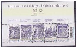 Blok 168** Met 3893/97**  Belgisch Werelderfgoed, Spiennes, Tournai, Antwerpen, Brugge, Brussel, Horta - Blocs 1962-....