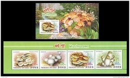 North Korea 2015 Mih. 6183/86 Flora. Mushrooms (booklet) MNH ** - Corea Del Norte