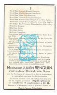 DP Julien Renquin ° Opheylissem Hélécine 1876 † 1949 X ML. Benne / Minsart Tassignon Closse Jallet Branckotte Dieudonné - Images Religieuses