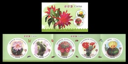 North Korea 2019 Mih. 6631B/35B Flora. Cactus. Insects. Bees. Butterflies (booklet) (imperf) MNH ** - Korea (Nord-)
