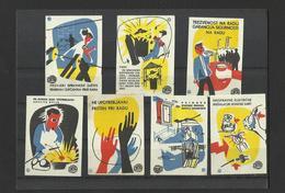SAFETY AT WORK  - Lot Of 7 Matchbox LABELS (see Sales Conditions) S/0129 - Cajas De Cerillas - Etiquetas