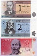 ESTONIA-1,2,10 KROON 1992,2007 P-69,70,77  UNC - Estonia