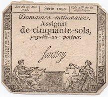 FRANCIA-50 SOLS 1793 P-A 70b - ...-1889 Tijdens De XIXde In Omloop