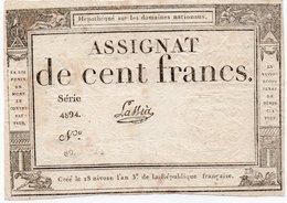 FRANCIA-ASSIGNAT 100 FRANCS 1795 P-A-78.13 XF - ...-1889 Anciens Francs Circulés Au XIXème