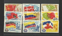 FLAG - Lot Of 9 Matchbox LABELS (see Sales Conditions) S/0131 - Cajas De Cerillas - Etiquetas
