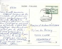 FINLANDE / Oblitération 04.06.1980 : NAVIRE TURKU - ABO Sur Carte Postale Moderne CHATEAU De TURKU - Storia Postale