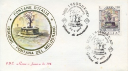 Italia 1979 FDC ROMA LUXOR Fontane D'Italia Issogne Fontana Del Melograno - Monumenti