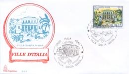 Italia 1985 FDC CAPITOLIUM Ville D'Italia Pula Villa Santa Maria - Monumenti