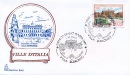 Italia 1986 FDC CAPITOLIUM Ville D'Italia Cassano D'Adda Villa Borromeo - Monumenti