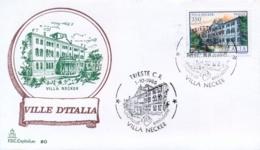 Italia 1986 FDC CAPITOLIUM Ville D'Italia Trieste Villa Necker - Monumenti