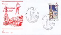 Italia 1984 FDC CAPITOLIUM Folclore Italiano Viterbo La Macchina Di Santa Rosa - Culture