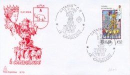 Italia 1986 FDC CAPITOLIUM Folclore Italiano Catania Le Candelore - Culture