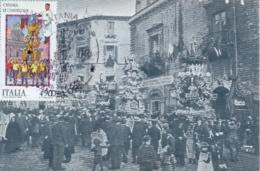 Italia 1986 FDC Maximum Card Folclore Italiano Catania Le Candelore - Culture